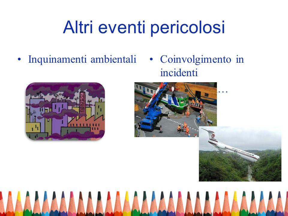 Altri eventi pericolosi Inquinamenti ambientaliCoinvolgimento in incidenti aerei, ferroviari…