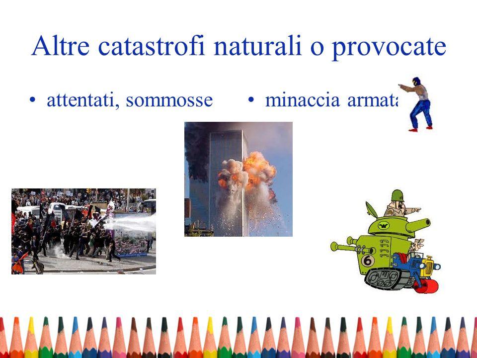 Altre catastrofi naturali o provocate attentati, sommosseminaccia armata