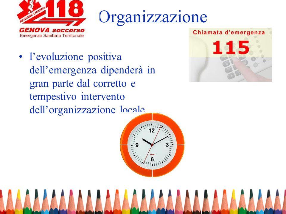 levoluzione positiva dellemergenza dipenderà in gran parte dal corretto e tempestivo intervento dellorganizzazione locale. Organizzazione