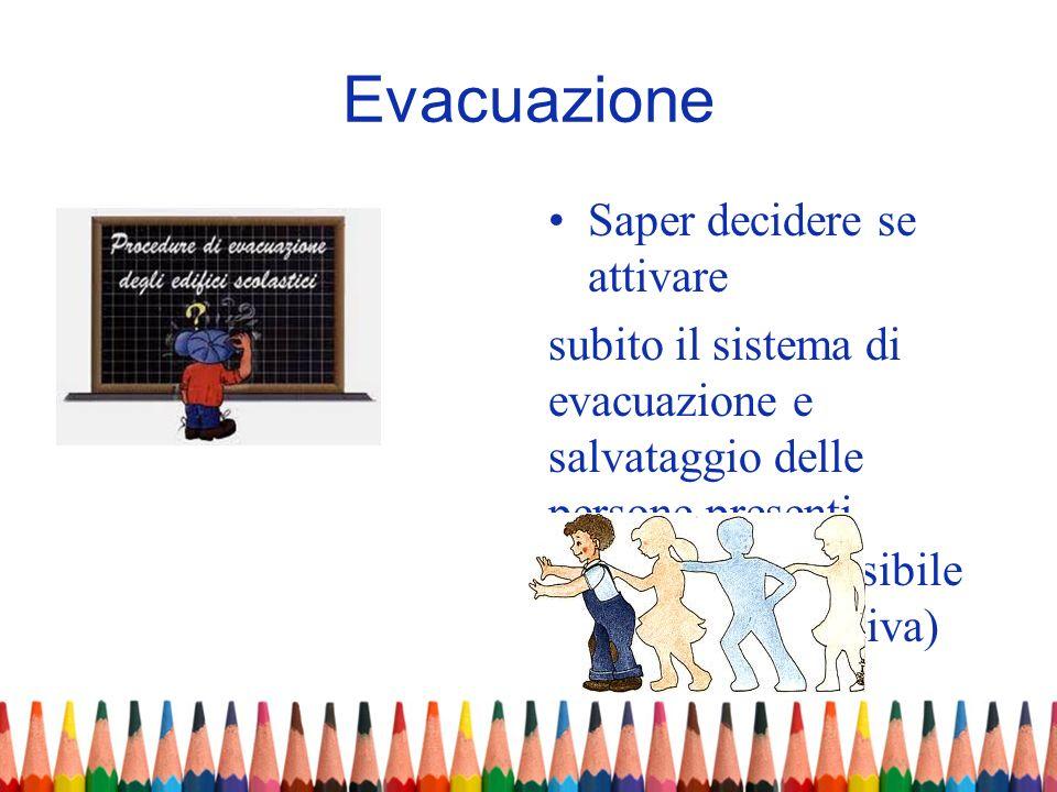 Evacuazione Saper decidere se attivare subito il sistema di evacuazione e salvataggio delle persone presenti (stimando la possibile evoluzione negativ