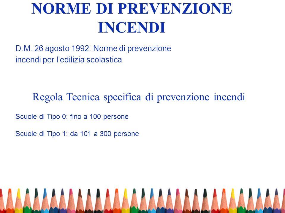 NORME DI PREVENZIONE INCENDI D.M. 26 agosto 1992: Norme di prevenzione incendi per ledilizia scolastica Scuole di Tipo 0: fino a 100 persone Scuole di