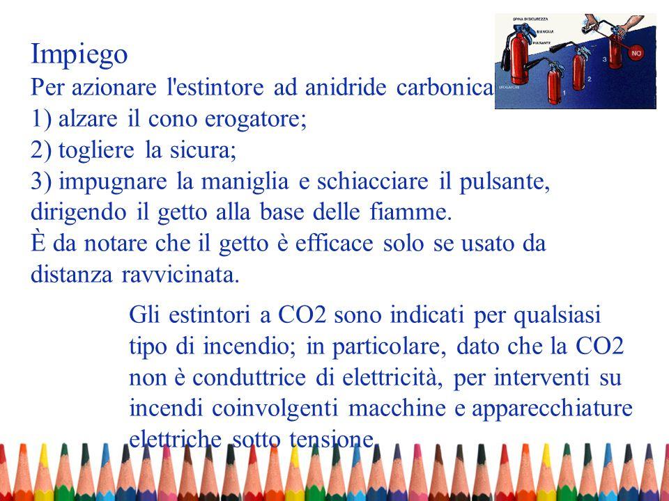 Impiego Per azionare l'estintore ad anidride carbonica occorre: 1) alzare il cono erogatore; 2) togliere la sicura; 3) impugnare la maniglia e schiacc