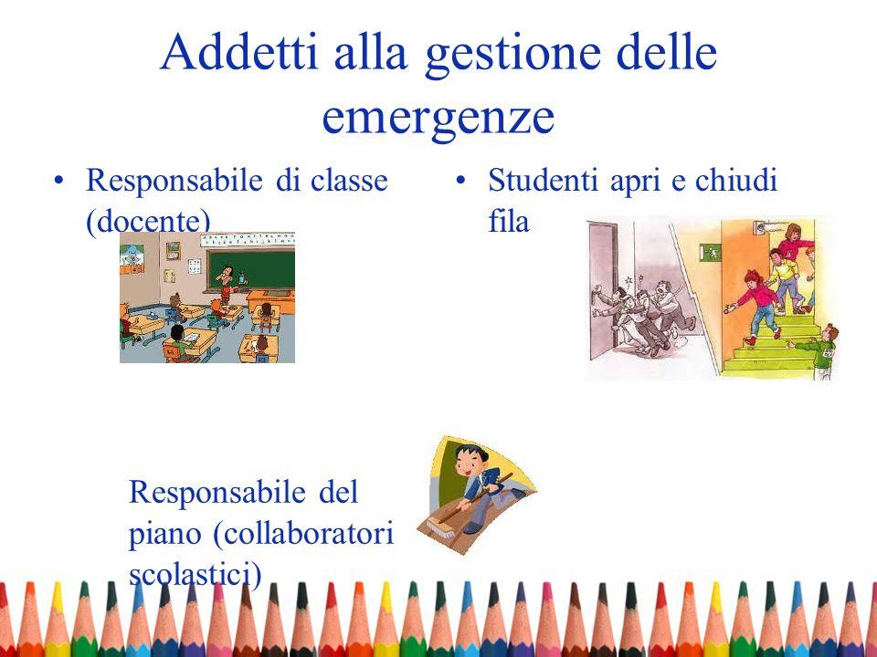Addetti alla gestione delle emergenze Responsabile di classe (docente) Studenti apri e chiudi fila Responsabile del piano (collaboratori scolastici)