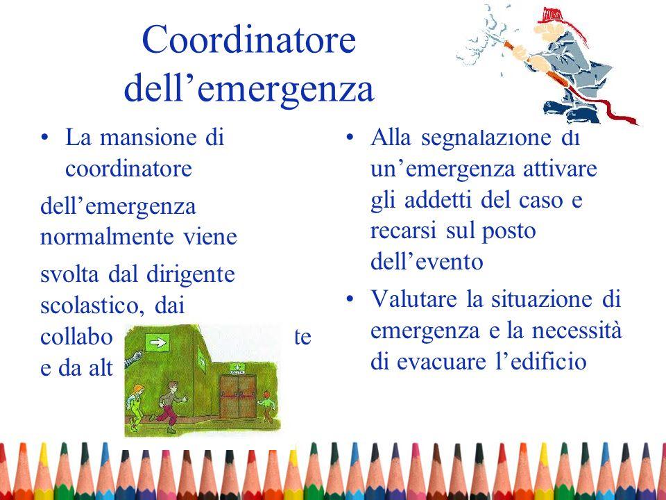 Coordinatore dellemergenza La mansione di coordinatore dellemergenza normalmente viene svolta dal dirigente scolastico, dai collaboratori del Dirigent