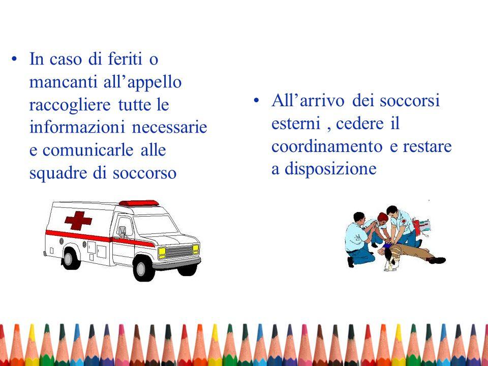 In caso di feriti o mancanti allappello raccogliere tutte le informazioni necessarie e comunicarle alle squadre di soccorso Allarrivo dei soccorsi est