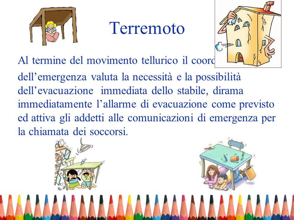 Terremoto Al termine del movimento tellurico il coordinatore dellemergenza valuta la necessità e la possibilità dellevacuazione immediata dello stabil
