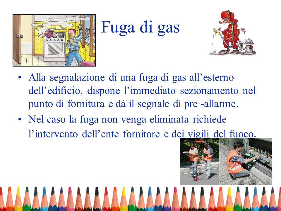 Fuga di gas Alla segnalazione di una fuga di gas allesterno delledificio, dispone limmediato sezionamento nel punto di fornitura e dà il segnale di pr