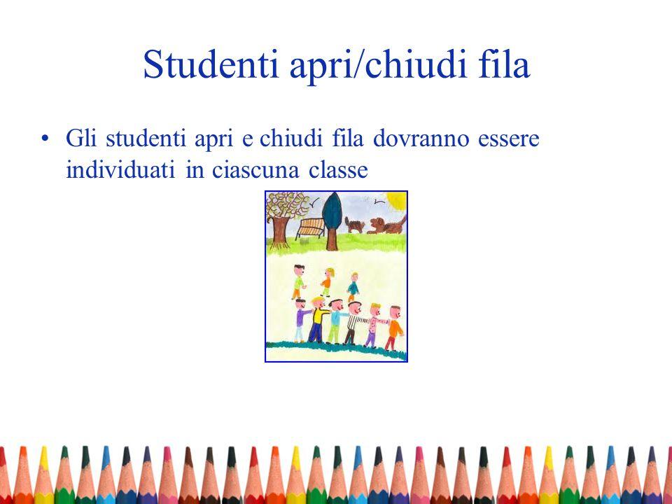 Studenti apri/chiudi fila Gli studenti apri e chiudi fila dovranno essere individuati in ciascuna classe