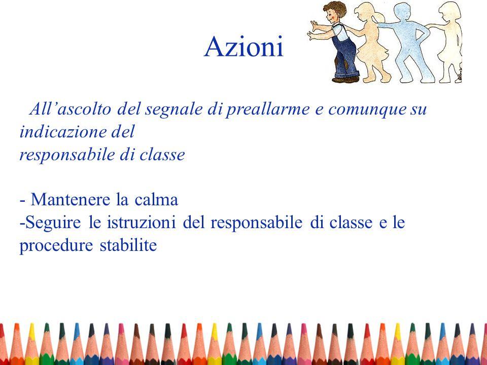 Allascolto del segnale di preallarme e comunque su indicazione del responsabile di classe - Mantenere la calma -Seguire le istruzioni del responsabile