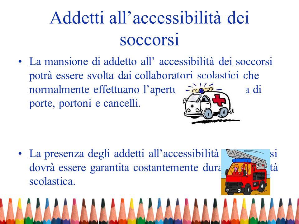 Addetti allaccessibilità dei soccorsi La mansione di addetto all accessibilità dei soccorsi potrà essere svolta dai collaboratori scolastici che norma