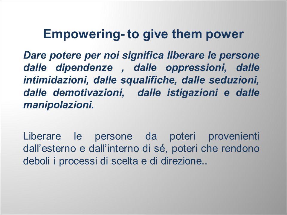 Empowering- to give them power Dare potere per noi significa liberare le persone dalle dipendenze, dalle oppressioni, dalle intimidazioni, dalle squal