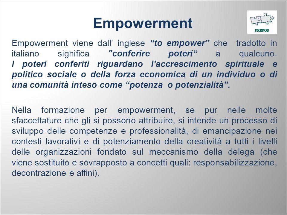 Empowerment Empowerment viene dall inglese to empower che tradotto in italiano significa