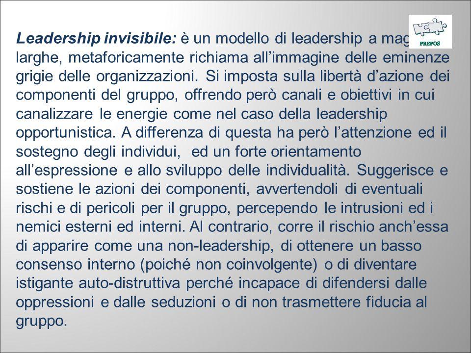 Leadership invisibile: è un modello di leadership a maglie larghe, metaforicamente richiama allimmagine delle eminenze grigie delle organizzazioni. Si