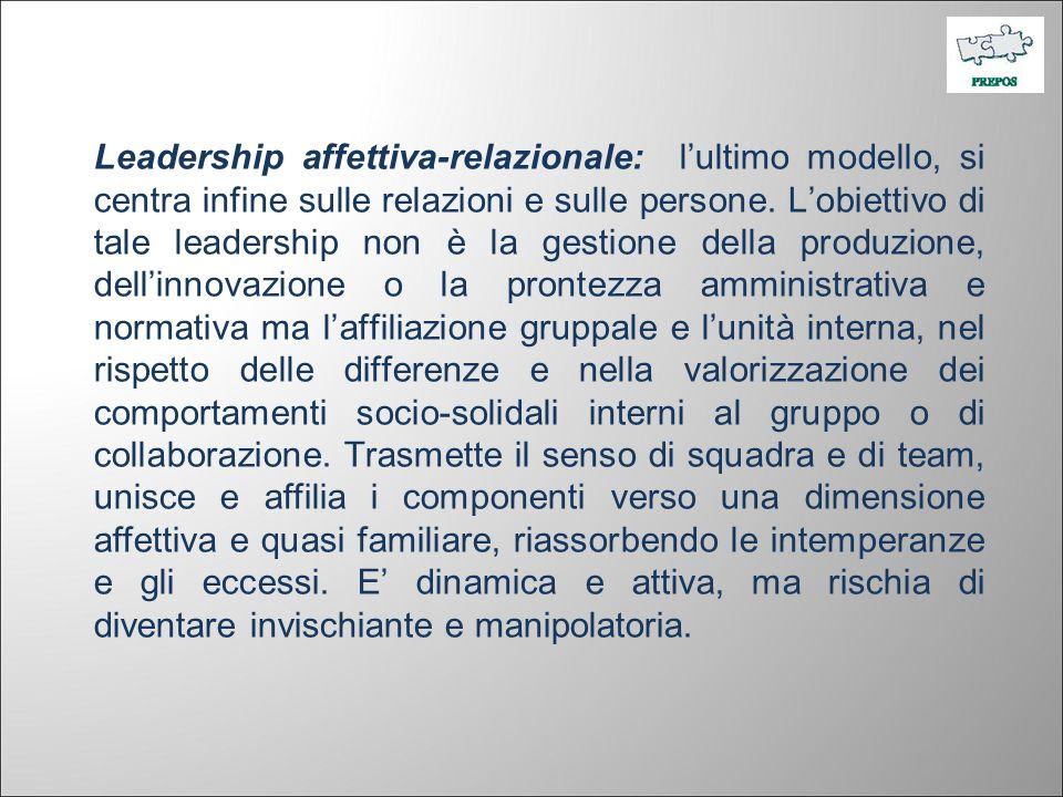 Leadership affettiva-relazionale: lultimo modello, si centra infine sulle relazioni e sulle persone. Lobiettivo di tale leadership non è la gestione d