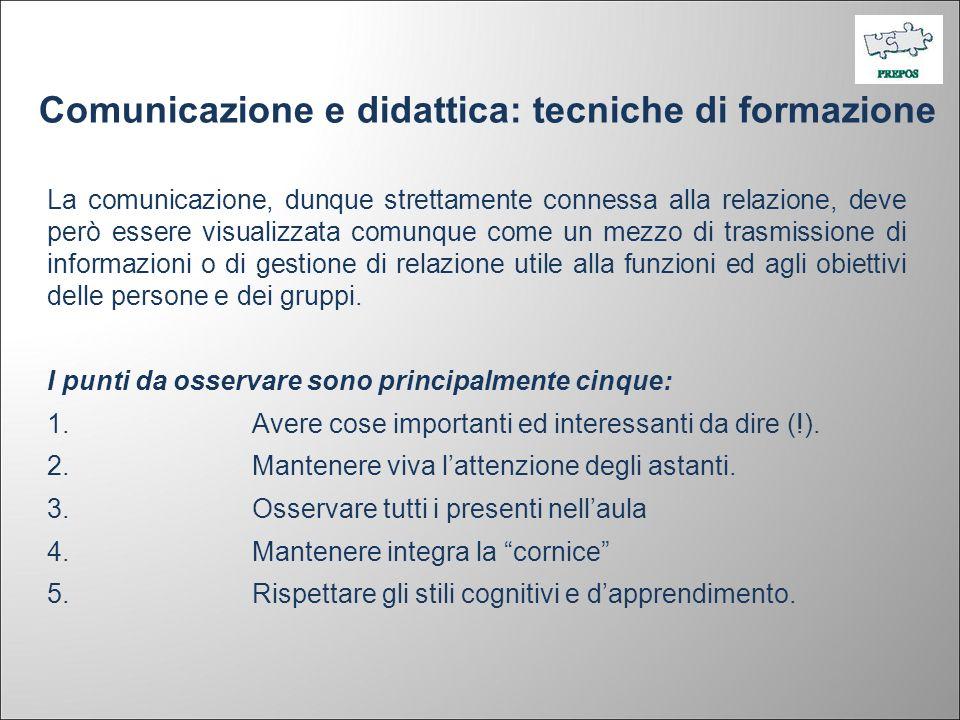 Comunicazione e didattica: tecniche di formazione La comunicazione, dunque strettamente connessa alla relazione, deve però essere visualizzata comunqu