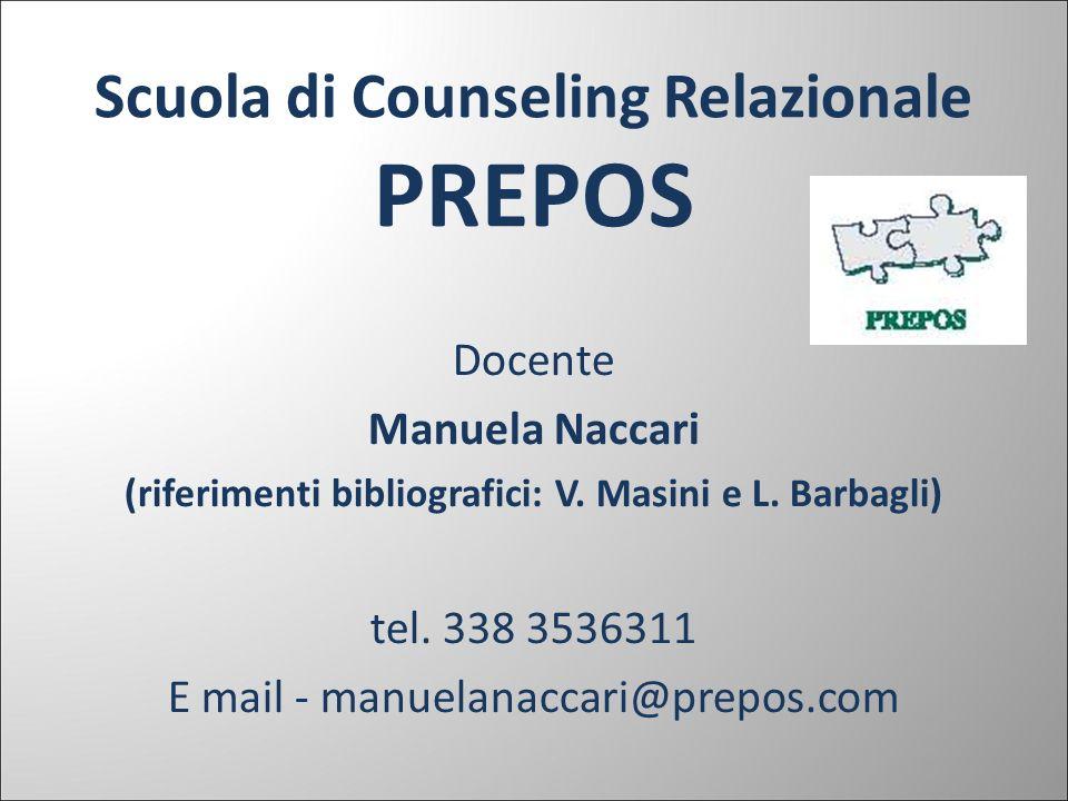 Scuola di Counseling Relazionale PREPOS Docente Manuela Naccari (riferimenti bibliografici: V. Masini e L. Barbagli) tel. 338 3536311 E mail - manuela