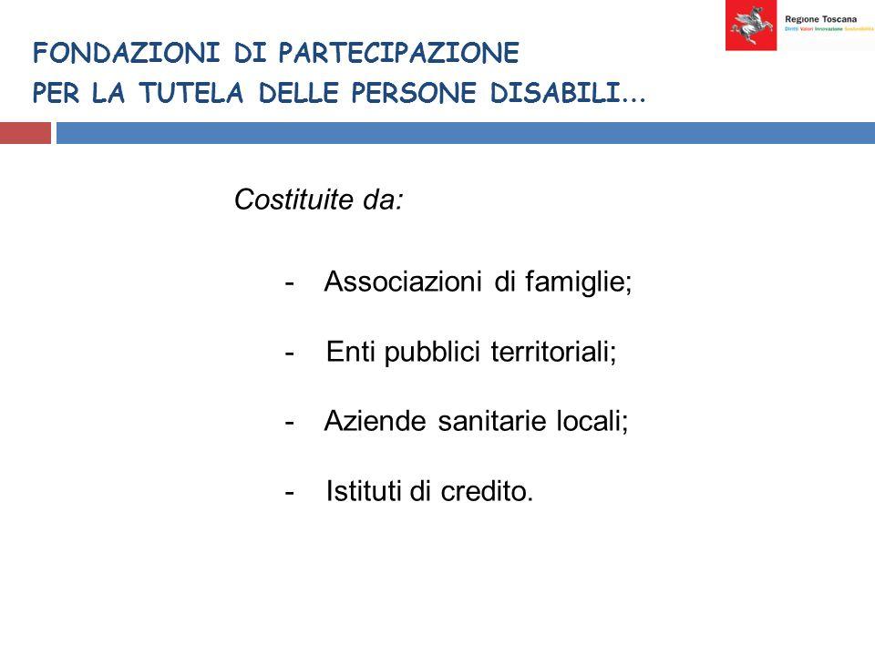 FONDAZIONI DI PARTECIPAZIONE PER LA TUTELA DELLE PERSONE DISABILI … Costituite da: - Associazioni di famiglie; - Enti pubblici territoriali; - Aziende sanitarie locali; - Istituti di credito.