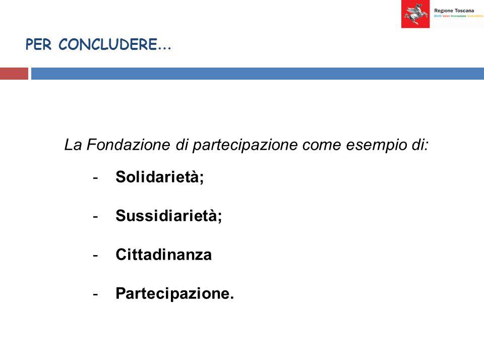 PER CONCLUDERE … La Fondazione di partecipazione come esempio di: - Solidarietà; - Sussidiarietà; - Cittadinanza - Partecipazione.