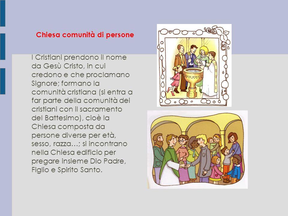 Chiesa comunità di persone I Cristiani prendono il nome da Gesù Cristo, in cui credono e che proclamano Signore; formano la comunità cristiana (si ent