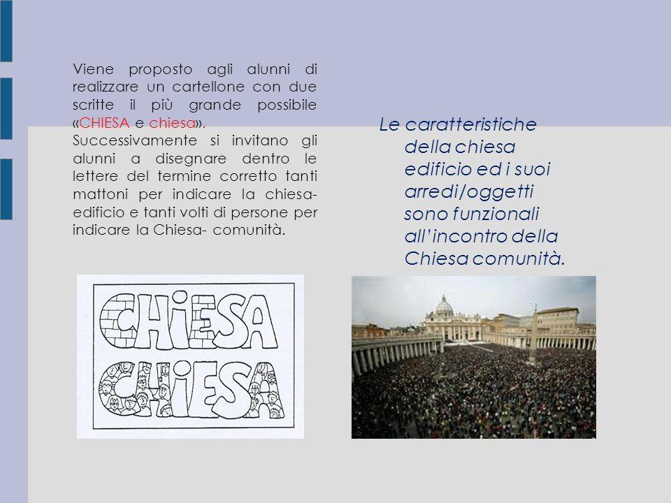 Viene proposto agli alunni di realizzare un cartellone con due scritte il più grande possibile «CHIESA e chiesa». Successivamente si invitano gli alun