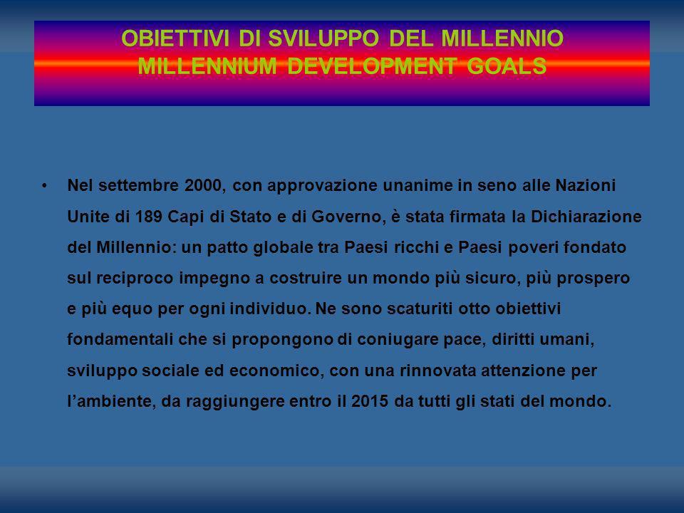 Nel settembre 2000, con approvazione unanime in seno alle Nazioni Unite di 189 Capi di Stato e di Governo, è stata firmata la Dichiarazione del Millen