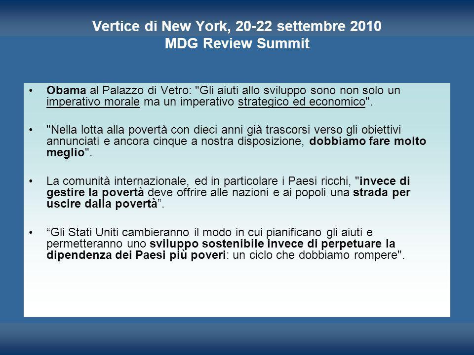 Vertice di New York, 20-22 settembre 2010 MDG Review Summit Obama al Palazzo di Vetro: