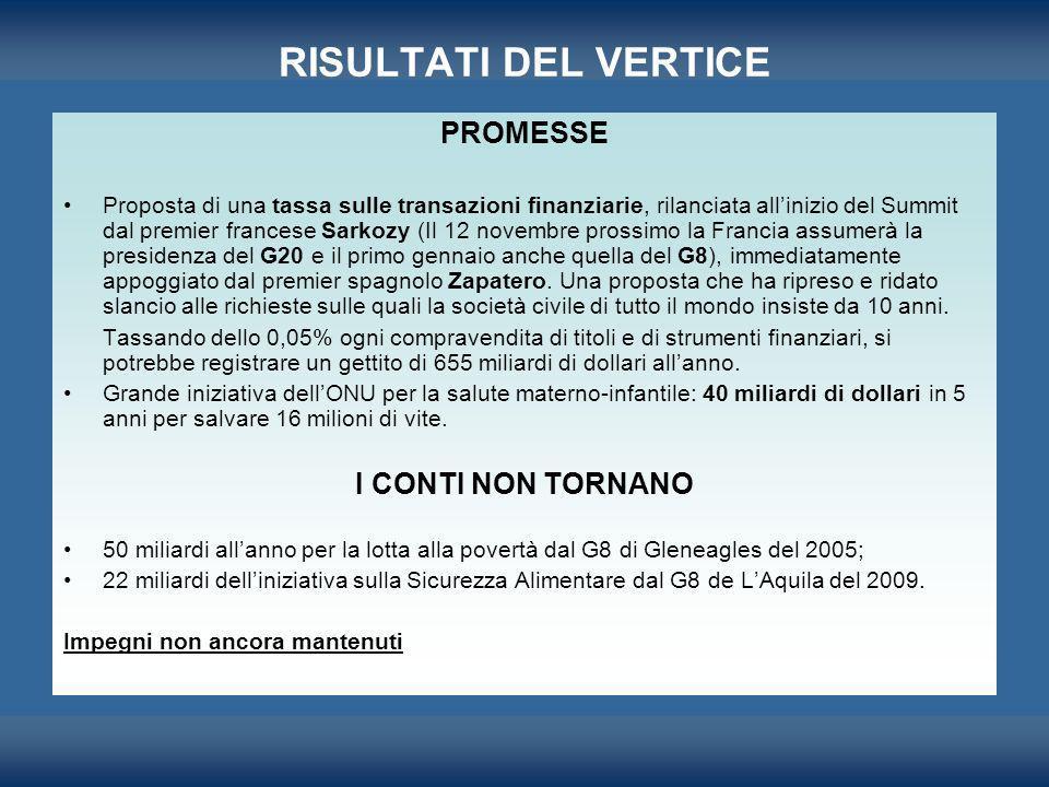 RISULTATI DEL VERTICE PROMESSE Proposta di una tassa sulle transazioni finanziarie, rilanciata allinizio del Summit dal premier francese Sarkozy (Il 1