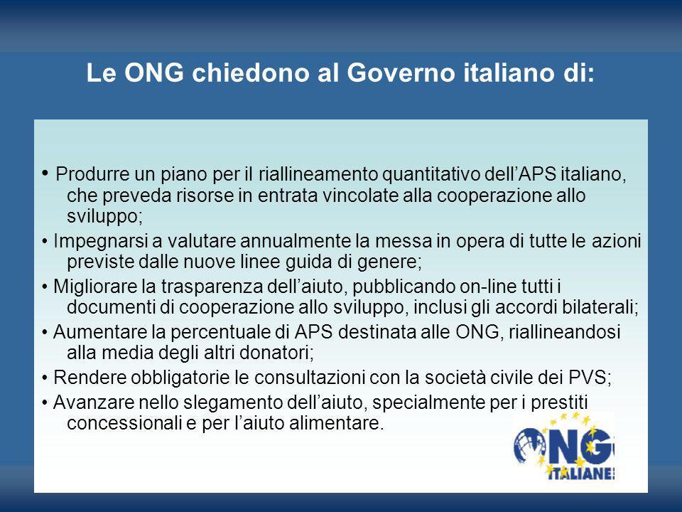 Le ONG chiedono al Governo italiano di: Produrre un piano per il riallineamento quantitativo dellAPS italiano, che preveda risorse in entrata vincolat