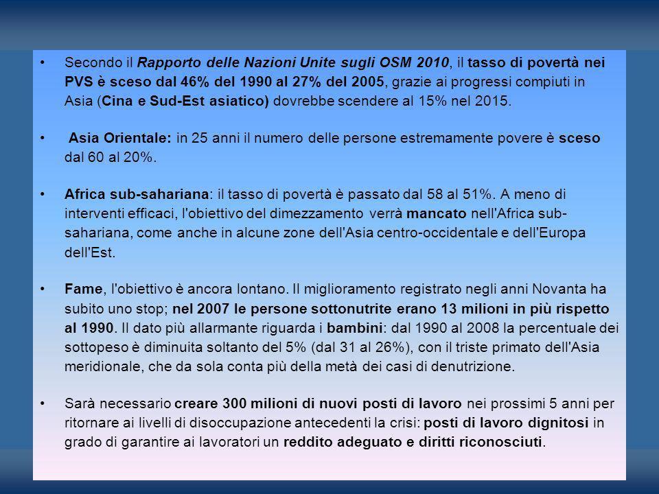 Secondo il Rapporto delle Nazioni Unite sugli OSM 2010, il tasso di povertà nei PVS è sceso dal 46% del 1990 al 27% del 2005, grazie ai progressi comp