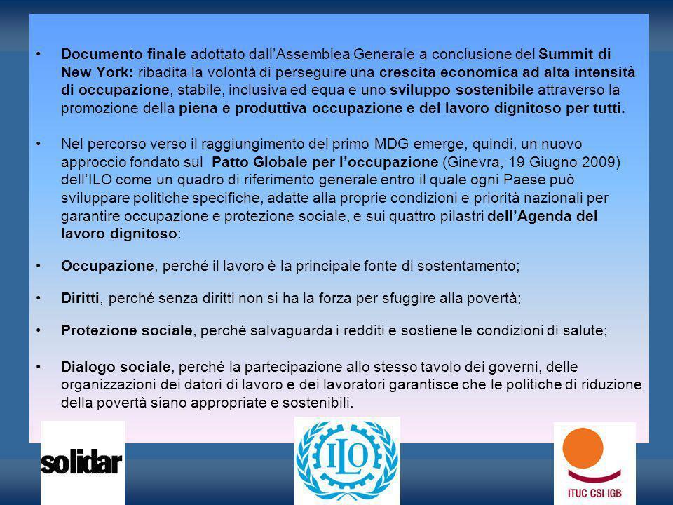 Documento finale adottato dallAssemblea Generale a conclusione del Summit di New York: ribadita la volontà di perseguire una crescita economica ad alt