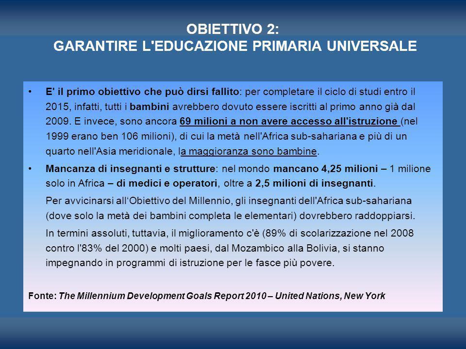 OBIETTIVO 2: GARANTIRE L'EDUCAZIONE PRIMARIA UNIVERSALE E' il primo obiettivo che può dirsi fallito: per completare il ciclo di studi entro il 2015, i