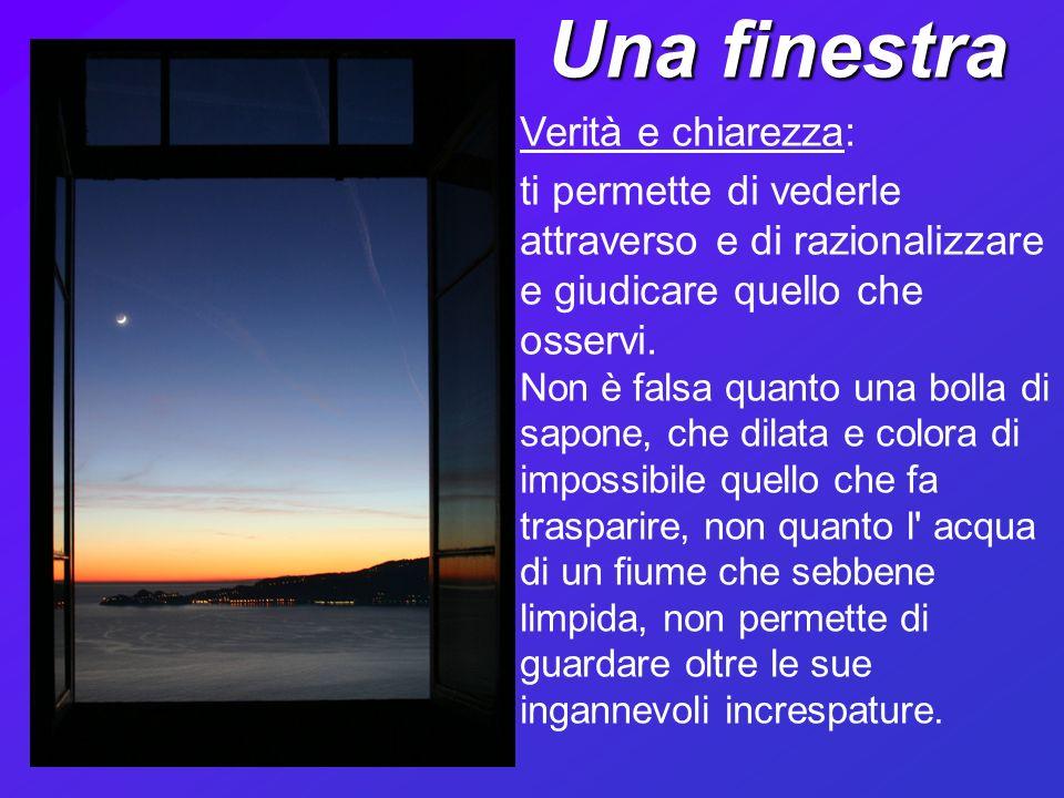Una finestra Verità e chiarezza: ti permette di vederle attraverso e di razionalizzare e giudicare quello che osservi.