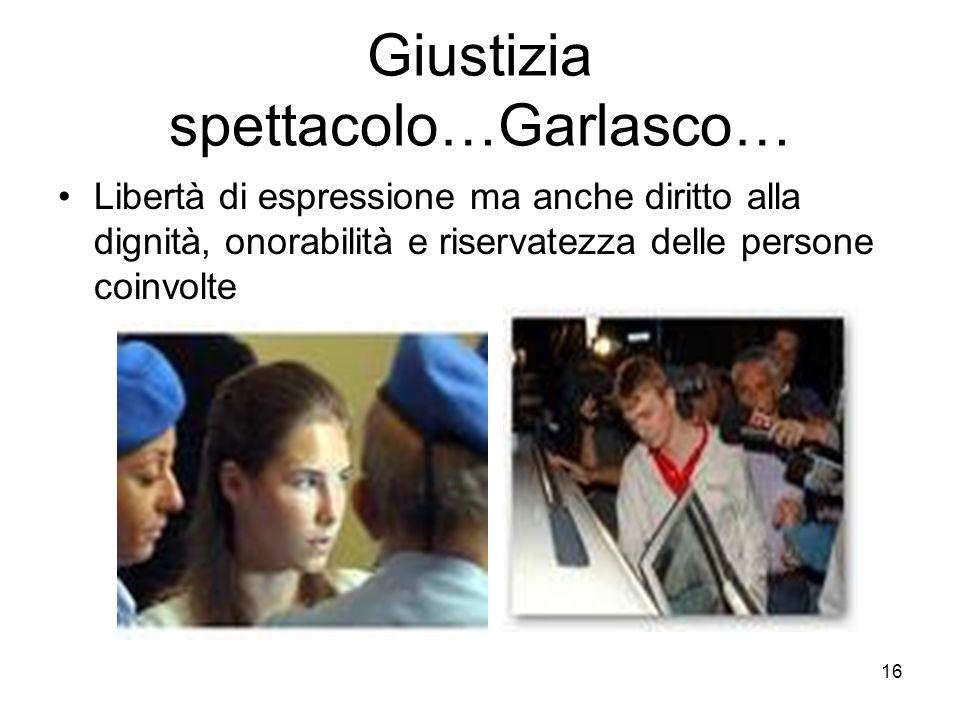 16 Giustizia spettacolo…Garlasco… Libertà di espressione ma anche diritto alla dignità, onorabilità e riservatezza delle persone coinvolte