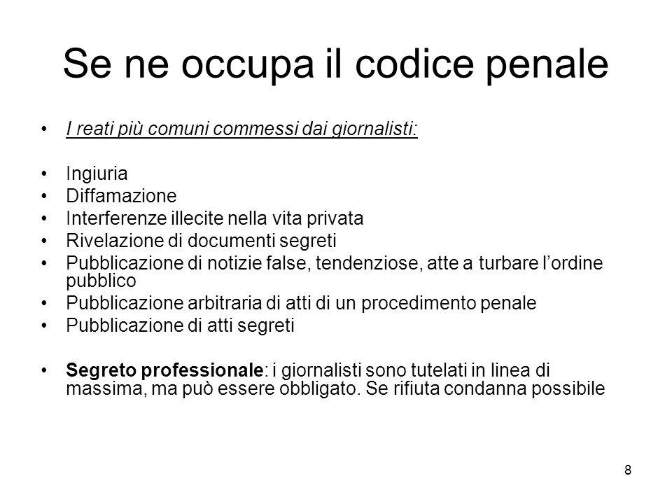 8 Se ne occupa il codice penale I reati più comuni commessi dai giornalisti: Ingiuria Diffamazione Interferenze illecite nella vita privata Rivelazion