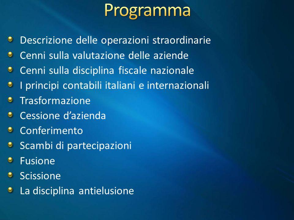 Trasformazione Cessione dazienda Conferimento Conferimento di partecipazioni (scambio) Permuta di partecipazioni (scambio) Fusione ScissioneLiquidazione