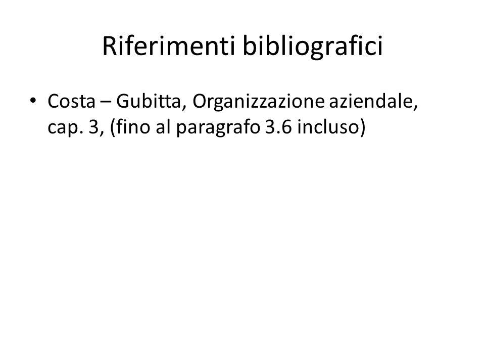 Riferimenti bibliografici Costa – Gubitta, Organizzazione aziendale, cap. 3, (fino al paragrafo 3.6 incluso)