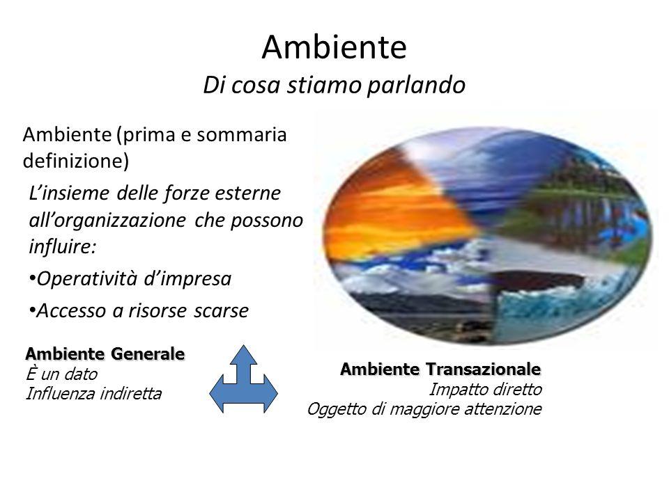 Ambiente Di cosa stiamo parlando Ambiente (prima e sommaria definizione) Linsieme delle forze esterne allorganizzazione che possono influire: Operativ