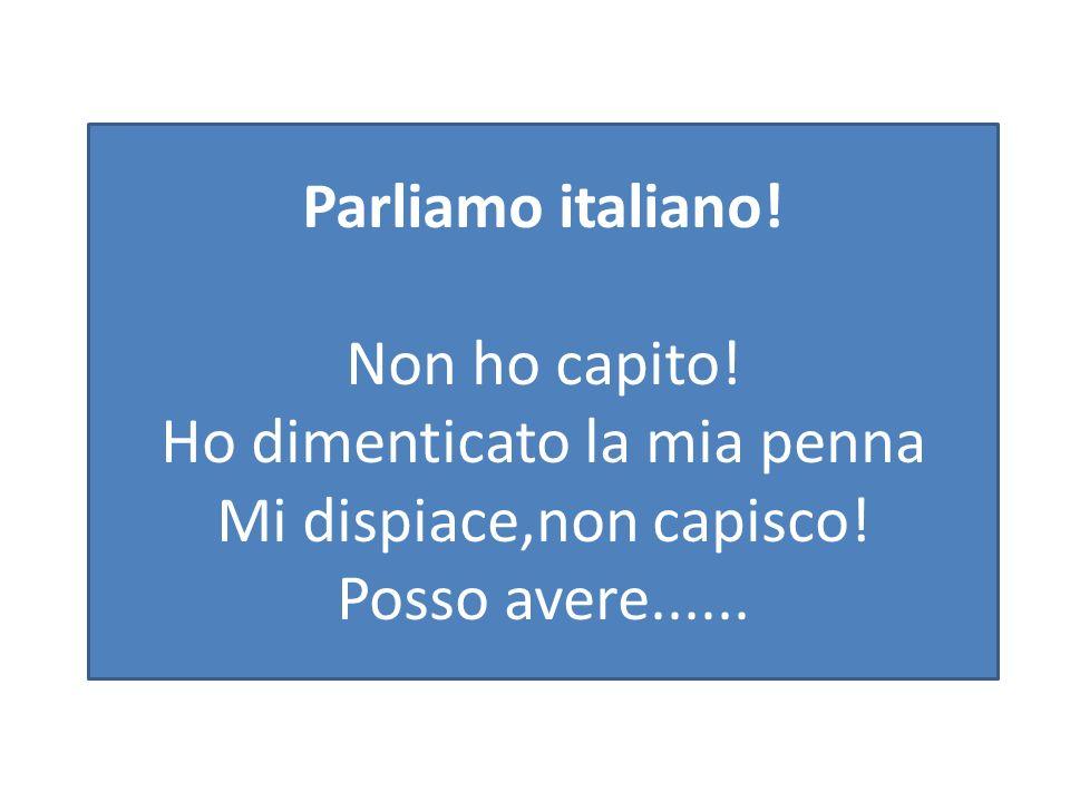 Parliamo italiano. Non ho capito. Ho dimenticato la mia penna Mi dispiace,non capisco.