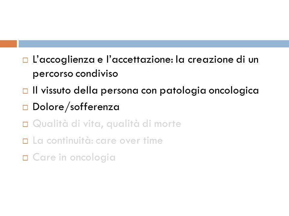 Laccoglienza e laccettazione: la creazione di un percorso condiviso Il vissuto della persona con patologia oncologica Dolore/sofferenza Qualità di vita, qualità di morte La continuità: care over time Care in oncologia