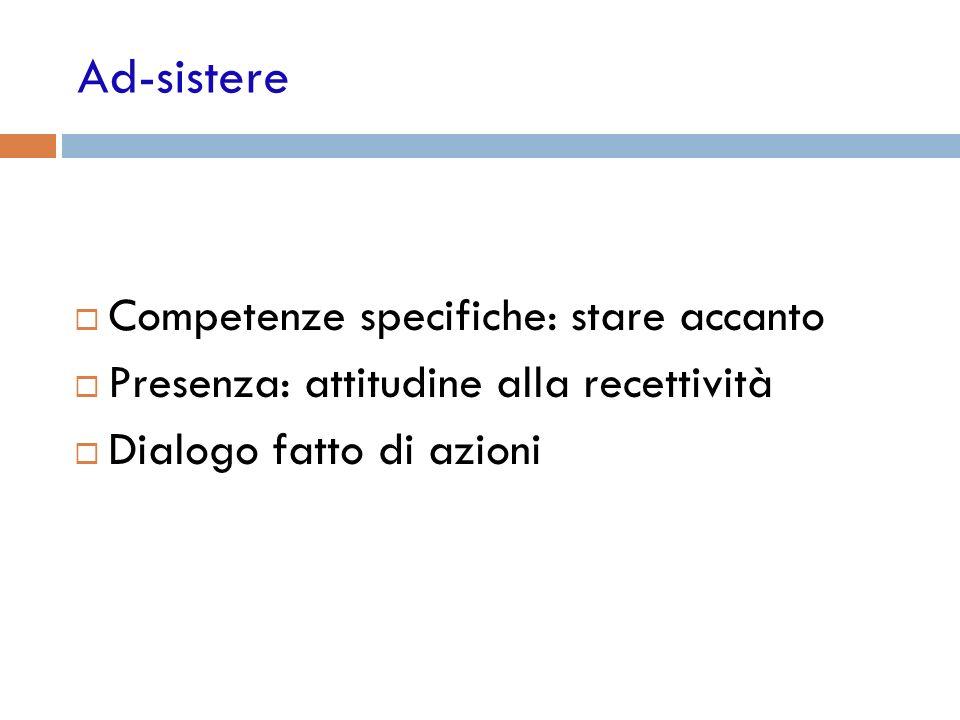 Ad-sistere Competenze specifiche: stare accanto Presenza: attitudine alla recettività Dialogo fatto di azioni