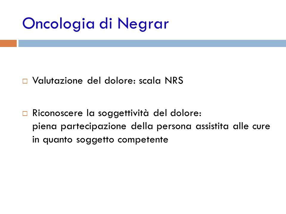 Oncologia di Negrar Valutazione del dolore: scala NRS Riconoscere la soggettività del dolore: piena partecipazione della persona assistita alle cure in quanto soggetto competente