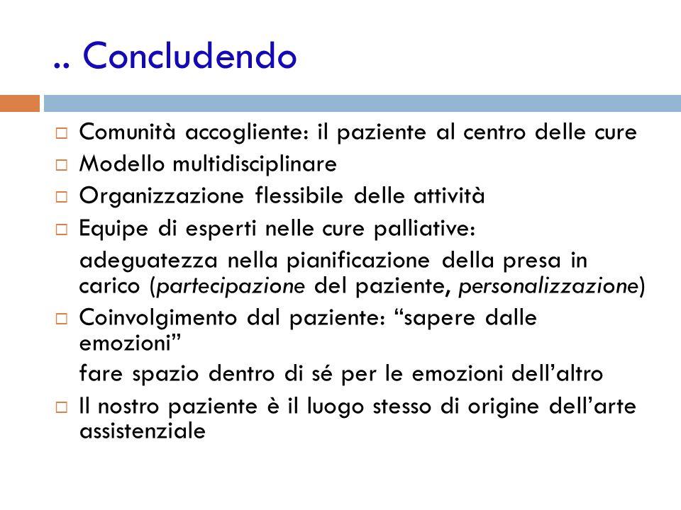 .. Concludendo Comunità accogliente: il paziente al centro delle cure Modello multidisciplinare Organizzazione flessibile delle attività Equipe di esp