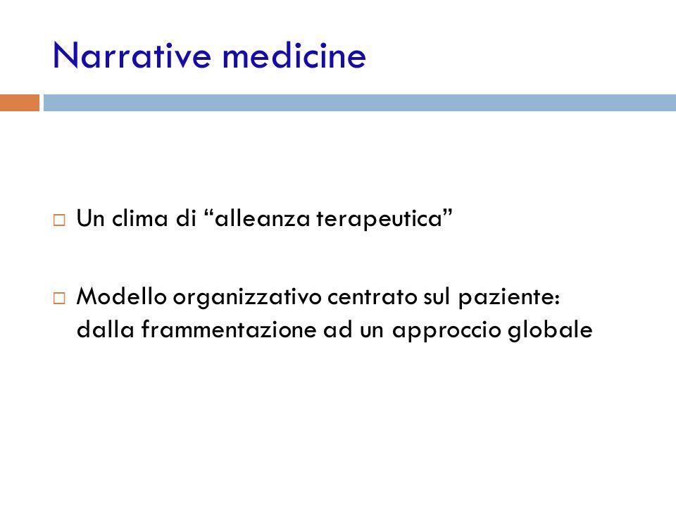 Narrative medicine Un clima di alleanza terapeutica Modello organizzativo centrato sul paziente: dalla frammentazione ad un approccio globale
