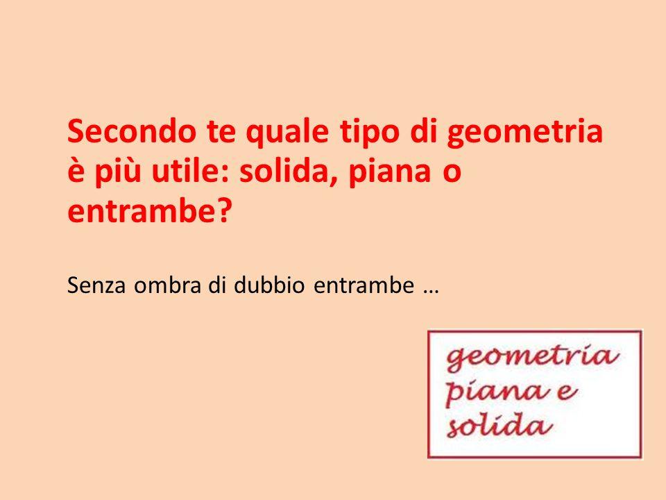 Secondo te quale tipo di geometria è più utile: solida, piana o entrambe? Senza ombra di dubbio entrambe …