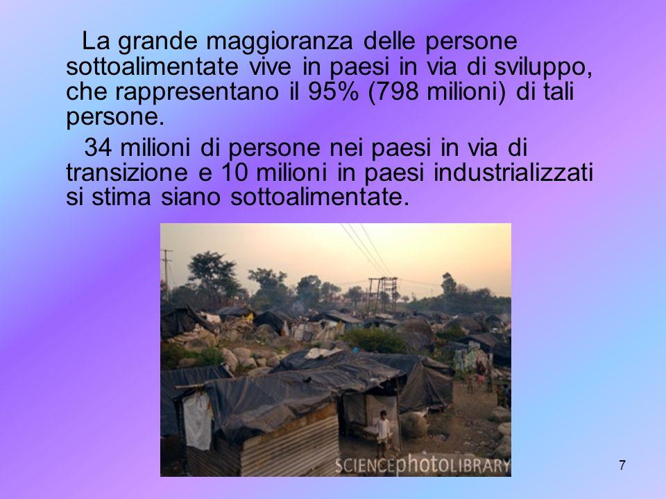 7 La grande maggioranza delle persone sottoalimentate vive in paesi in via di sviluppo, che rappresentano il 95% (798 milioni) di tali persone. 34 mil