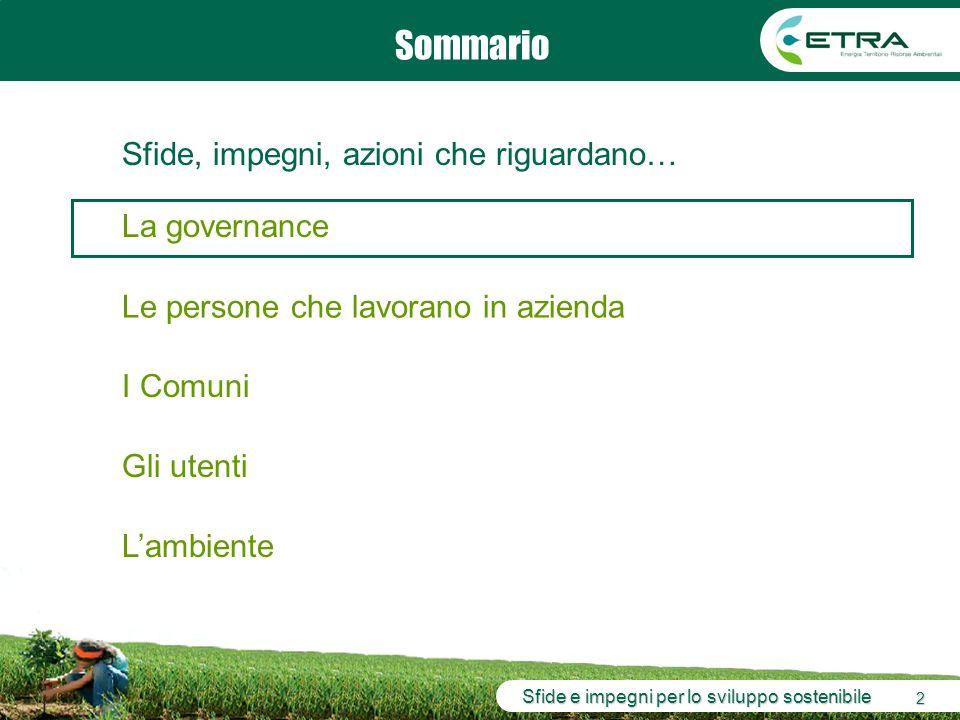 Sfide e impegni per lo sviluppo sostenibile 2 Sommario La governance Le persone che lavorano in azienda Lambiente I Comuni Sfide, impegni, azioni che