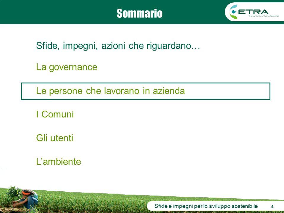 Sfide e impegni per lo sviluppo sostenibile 4 Sommario La governance Le persone che lavorano in azienda Lambiente I Comuni Sfide, impegni, azioni che
