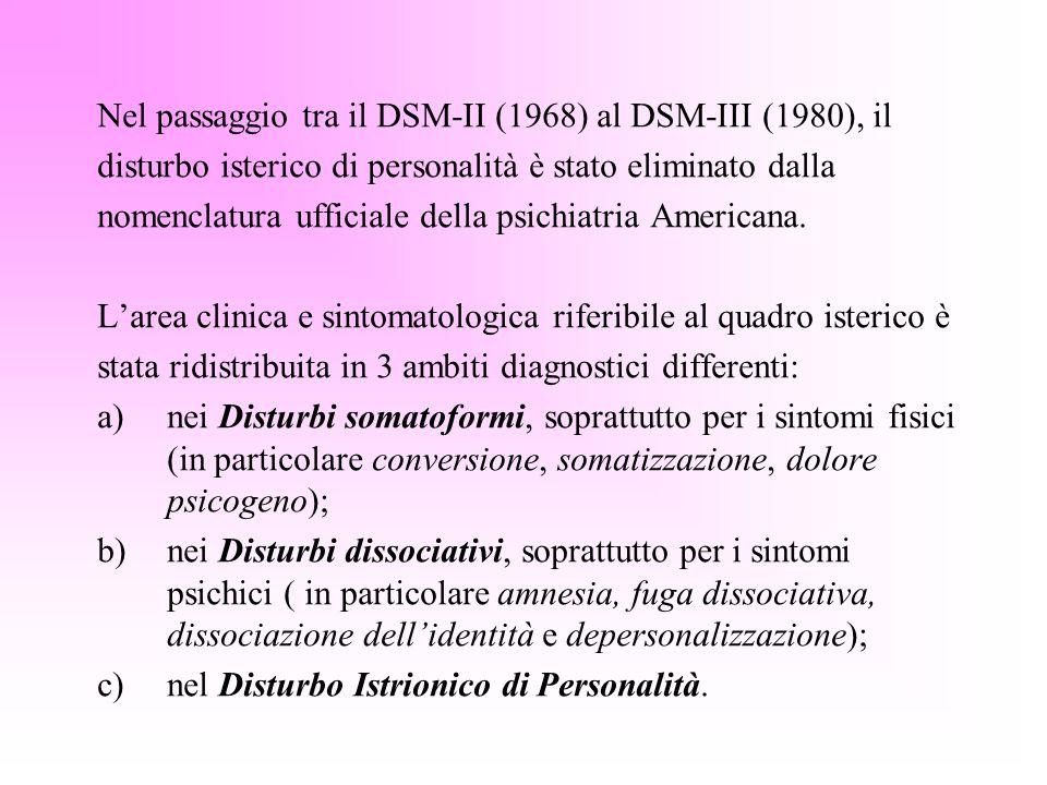 Nel passaggio tra il DSM-II (1968) al DSM-III (1980), il disturbo isterico di personalità è stato eliminato dalla nomenclatura ufficiale della psichia