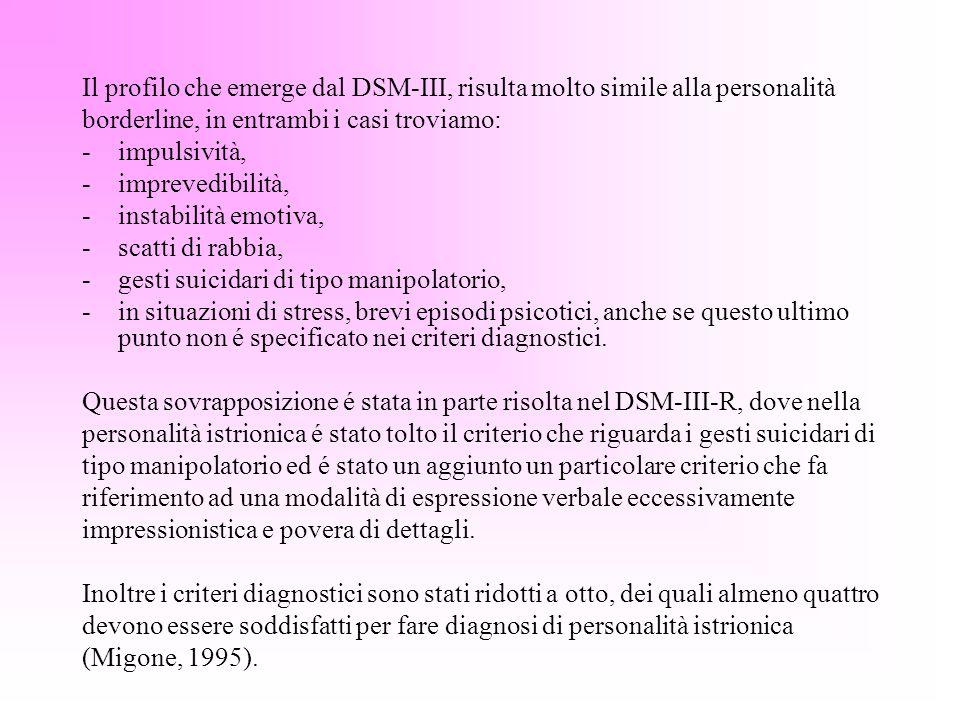 Il profilo che emerge dal DSM-III, risulta molto simile alla personalità borderline, in entrambi i casi troviamo: -impulsività, -imprevedibilità, -ins