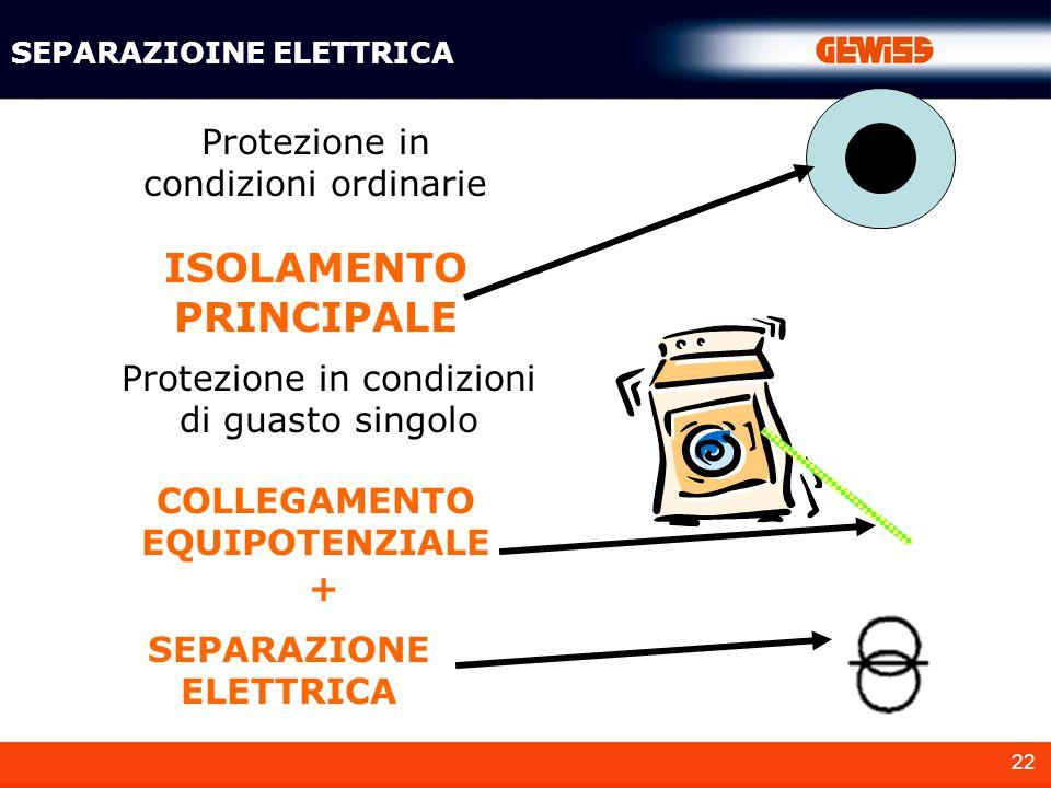 22 SEPARAZIOINE ELETTRICA Protezione in condizioni ordinarie Protezione in condizioni di guasto singolo ISOLAMENTO PRINCIPALE COLLEGAMENTO EQUIPOTENZI